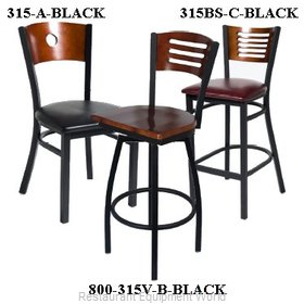 Selected Furniture 315BS-C-BLACK Wood-back Bar Stool