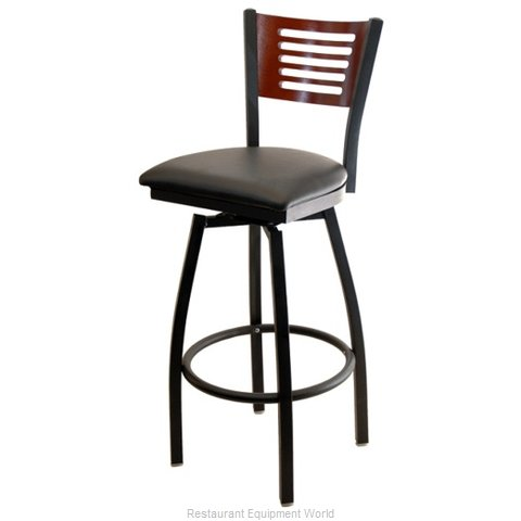 Selected Furniture 800-315V-C-BLACK Wood-back Swivel Bar Stool