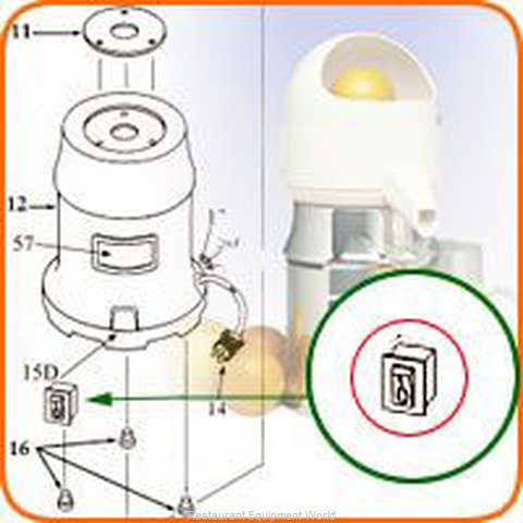 Sunkist 15D Juicer, Parts & Accessories (Magnified)