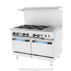 Turbo Air TARG-6B12G Range 48 6 open burners 12 griddle