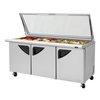 Encimera Refrigerada, Superficie Unidad para Emparedados <br><span class=fgrey12>(Turbo Air TST-72SD-30-N-GL Refrigerated Counter, Mega Top Sandwich / Salad Unit)</span>
