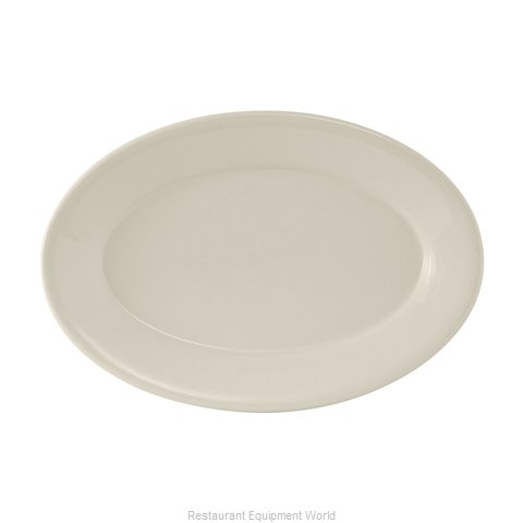 Tuxton China TRE-039 Platter Oval Wide Rim (Magnified)