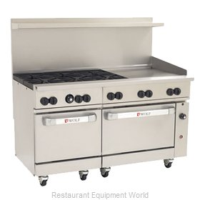 Wolf Range C60SC-6B24GT Range 60 6 Open Burners 24 Griddle w thermostat