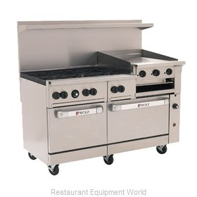 Wolf Range C60SS-6B24GB Range 60 6 Open Burners 24 Griddle Broiler